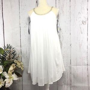 NINA LEONARD SLEEVELESS WHITE TUNIC DRESS SIZE M